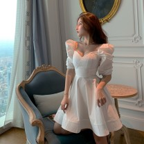 Dress Spring 2020 White, black S, M Miniskirt singleton  Short sleeve commute V-neck High waist Solid color Socket A-line skirt puff sleeve Others 18-24 years old Type A Retro 31% (inclusive) - 50% (inclusive)