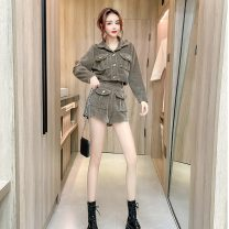 Fashion suit Winter 2020 S,M,L Black three piece set, pink three piece set, khaki three piece set 18-25 years old Other / other a1221 30% and below polyester fiber