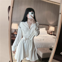 Dress Autumn 2020 White, black M, L Middle-skirt singleton  Long sleeves commute V-neck High waist Socket other routine Others 18-24 years old Type H Korean version 30% and below other