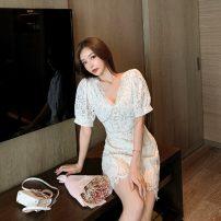 Dress Summer 2020 white S,M,L Short skirt singleton  Short sleeve commute V-neck High waist zipper A-line skirt puff sleeve Others 18-24 years old Type A Korean version