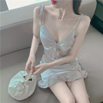 Dress Summer 2020 Picture color S,M,L Short skirt singleton  Sleeveless commute V-neck High waist Solid color Ruffle Skirt camisole 18-24 years old Type H Korean version a629 30% and below