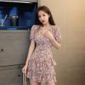 Dress Summer 2020 Pink, yellow S,M,L,XL Short skirt singleton  Short sleeve commute V-neck High waist Decor Princess sleeve Others 18-24 years old Type H Retro a421 30% and below