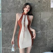 Dress Summer 2021 Coffee + apricot Average size Short skirt singleton  Sleeveless commute High waist Others 18-24 years old Type H Retro a3.4 30% and below knitting