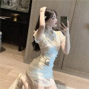 Dress Summer 2020 Apricot, green S,M,L Short skirt singleton  Short sleeve commute stand collar High waist Solid color 18-24 years old Type H Retro 3D a413 31% (inclusive) - 50% (inclusive) other