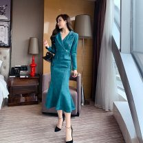 Dress Winter of 2019 S,M,L,XL longuette singleton  Long sleeves commute tailored collar High waist Solid color zipper Ruffle Skirt routine 18-24 years old Other / other Korean version Lotus leaf edge eleven point five 30% and below