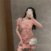 Dress Summer 2021 Decor S,M,L Short skirt singleton  Short sleeve commute High waist Broken flowers zipper Others 18-24 years old Type H Other / other Korean version a4.13 30% and below other other