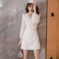 Dress Winter of 2019 Apricot S,M,L,XL Short skirt singleton  Long sleeves V-neck High waist Solid color double-breasted other other Others 18-24 years old Other / other