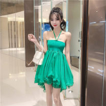 Dress Spring 2020 White, green Average size Short skirt singleton  Sleeveless commute One word collar High waist Solid color other camisole 18-24 years old Type A Korean version B33 31% (inclusive) - 50% (inclusive)