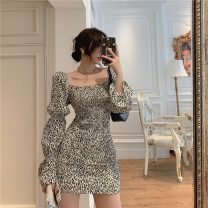 Dress Winter 2020 Apricot, black S,M,L Short skirt singleton  Long sleeves commute High waist One pace skirt puff sleeve 18-24 years old Type H Retro 31% (inclusive) - 50% (inclusive) other