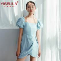 Dress / evening wear Party, company annual meeting, date S,M,L blue Retro Short skirt High waist Autumn 2020 A-line skirt square neck Woven cloth 26-35 years old Short sleeve Solid color Yigelila puff sleeve other 96% and above