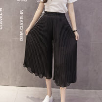 Casual pants Black, white, gray, ginger, pink, Navy, khaki S,M,L,XL Summer 2020 Cropped Trousers Wide leg pants High waist Thin money 71% (inclusive) - 80% (inclusive) other