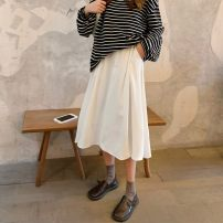 skirt Summer 2021 S,M,L,XL Black, white Mid length dress commute High waist A-line skirt Solid color Type A 71% (inclusive) - 80% (inclusive) Chiffon Pocket, zipper, inshot / casual / fashion / Versatile / temperament / academic / Japanese / loose / draping / summer Korean version