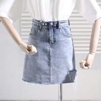 skirt Summer 2021 S,M,L,XL Black (lined), blue (lined) Short skirt commute High waist A-line skirt Solid color 18-24 years old 51% (inclusive) - 70% (inclusive) Denim Holes, pockets, worn out Korean version