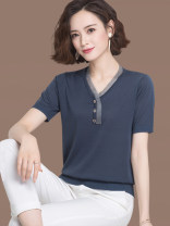 T-shirt Green, apricot, red, black, navy S,M,L,XL,XXL,XXXL Summer 2020 Short sleeve V-neck easy Regular routine commute other 96% and above Korean version other Color matching Other / other ca2809611 Stitching, buttons, lace