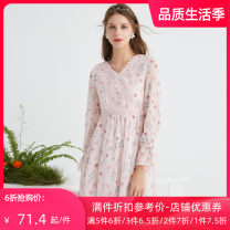 Dress Spring 2021 colour S M L longuette singleton  Long sleeves commute V-neck High waist Broken flowers Socket A-line skirt routine 25-29 years old Type A Jando lady printing G91112 More than 95% Chiffon polyester fiber Polyester 99.1% others 0.9%