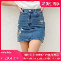 skirt Summer of 2019 S M L XL blue Short skirt Versatile Natural waist Denim skirt Type H 25-29 years old B72160 More than 95% Jando cotton Cotton 100%