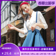 skirt Autumn of 2018 XS S M L blue Short skirt Versatile Natural waist Umbrella skirt Type A 25-29 years old 51% (inclusive) - 70% (inclusive) Jando cotton Cotton 69.6% polyester 28.5% polyurethane elastic fiber (spandex) 1.9%