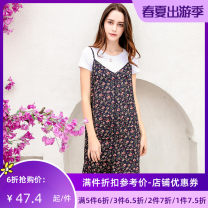 Dress Summer 2017 Dark blue XS S M L XL Middle-skirt Two piece set Short sleeve Sweet Crew neck middle-waisted Socket routine Others 25-29 years old Type A Jando More than 95% polyester fiber Polyester 100% college