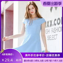 Dress Summer of 2018 blue S M Middle-skirt singleton  Short sleeve Sweet middle-waisted A-line skirt routine 25-29 years old Type A Jando G62158 81% (inclusive) - 90% (inclusive) polyester fiber Polyester fiber 89.9% polyurethane elastic fiber (spandex) 10.1% college