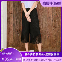 Casual pants black S M L Summer of 2019 Cropped Trousers Wide leg pants Natural waist Versatile routine 25-29 years old Jando Polyester 100%
