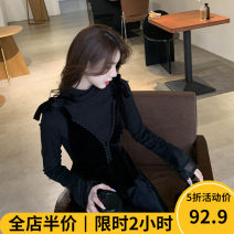 Women's large Autumn 2020 Black suit KY Dress Two piece set Sweet easy thickening Socket Long sleeves Solid color High collar routine routine 10-22C8553- Beauty mark 18-24 years old longuette Viscose (viscose) 100% Pure e-commerce (online only) Irregular skirt solar system