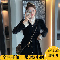 Women's large Winter 2020 Dress singleton  Sweet easy thickening Socket Long sleeves Solid color High collar routine E11-20DXL9898-CC Beauty mark 18-24 years old Medium length Polyester 95% polyurethane elastic fiber (spandex) 5% Pure e-commerce (online only) solar system