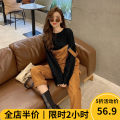 Women's large Autumn 2020 One piece sweater one piece suspenders sweater + suspenders suit Dress Two piece set Sweet easy thickening Socket Long sleeves Solid color Crew neck puff sleeve 9-11D8320- Beauty mark 18-24 years old longuette Cotton 100% Pure e-commerce (online only) Irregular skirt