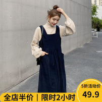 Women's large Winter 2020 Dress Two piece set Sweet easy thickening Socket Long sleeves Solid color Half high collar routine routine 12-4C8458-XX Beauty mark 18-24 years old Medium length Polyamide fiber (nylon) 97% polyurethane elastic fiber (spandex) 3% Pure e-commerce (online only) Ruffle Skirt