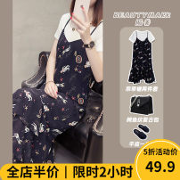 Women's large Summer 2020 suit skirt Two piece set Sweet easy thickening Short sleeve other Crew neck routine Three dimensional cutting puff sleeve CP3219-CS Beauty mark 18-24 years old Gouhua hollow longuette Other polyester 95% 5% Pure e-commerce (online only) Irregular skirt shorts solar system