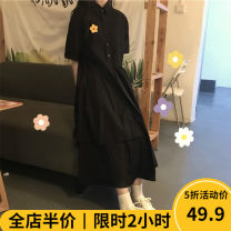 Women's large Summer 2021 Dress singleton  commute easy moderate Socket Short sleeve Solid color Korean version square neck routine 4-1CS0295 Beauty mark 18-24 years old Medium length Cotton 100% Pure e-commerce (online only)