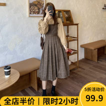 Women's large Winter 2020 Suit JH Dress Two piece set Sweet easy thickening Cardigan Long sleeves lattice square neck routine 11-26C8456- Beauty mark 18-24 years old Medium length Polyester 97% polyurethane elastic fiber (spandex) 3% Pure e-commerce (online only) Pleated skirt solar system
