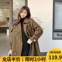 Women's large Spring 2021 Mocha green JH / Slightly fat girl / Tea break net / Hepburn / Europe and America / Cool and cute / Big chest / little chap / Sweet / temperament / Spring and autumn tide woolen coat singleton  Sweet easy moderate Cardigan Long sleeves Solid color square neck Medium length