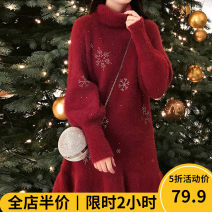 Women's large Winter 2020 Dress singleton  Sweet easy thickening Socket Long sleeves shape High collar routine F11-27MMJ2736 Beauty mark 18-24 years old Polyacrylonitrile fiber (acrylic fiber) 50% polyester fiber 30% polyamide fiber (polyamide fiber) 20% Pure e-commerce (online only) solar system