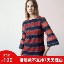 Dress Summer 2020 Red, blue S,M,L Mid length dress commute Crew neck stripe Type H conscious Simplicity Lace