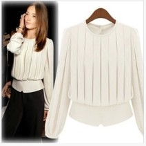 shirt White, black XS,S,M,L,XL,XXL Spring 2015 other 51% (inclusive) - 70% (inclusive) Long sleeves commute Medium length Socket routine Solid color Straight cylinder Simplicity