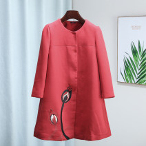 short coat Autumn of 2019 S,M,L Black, red Long sleeves Medium length routine singleton  easy Sweet routine Crew neck Single breasted Solid color 25-29 years old Romantic Zishu 30% and below nylon Viscose