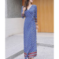 Dress Spring 2021 Blue collarless 3 / 4 sleeves S,M,L,XL longuette singleton  three quarter sleeve Sweet V-neck High waist Decor other other routine Breast wrapping Type A Print, lace up other other Bohemia