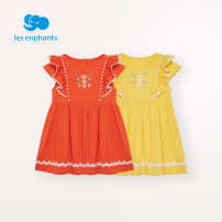 Dress Pink orange, bright yellow female Les enfants 80cm / 1 years old, 90cm / 2 years old, 100cm / 3 years old, 110cm / 4 years old, 120cm / 6 years old, 130cm / 8 years old Cotton 93.8% polyurethane elastic fiber (spandex) 6.2% summer lady Short sleeve other cotton Splicing style A2E2010609