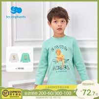 T-shirt White green Les enfants 80cm / 1 years old (shoulder buckle) 90cm / 2 years old (shoulder buckle) 100cm / 3 years old (shoulder buckle) 110cm / 4 years old 120cm / 6 years old 130cm / 8 years old male spring and autumn Long sleeves Crew neck leisure time nothing cotton Cartoon animation