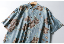 Women's large Summer 2020, spring 2020 Blue print Big XL, big XXL, big L, big M shirt singleton  street Straight cylinder moderate Cardigan Short sleeve Decor square neck routine silk routine 40-49 years old 96% and above Europe and America