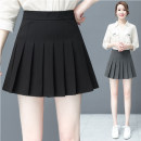 skirt Summer 2020 S,M,L,XL,2XL Gray, black Short skirt Versatile High waist Pleated skirt Solid color Type A 18-24 years old Y1805 71% (inclusive) - 80% (inclusive) other polyester fiber fold