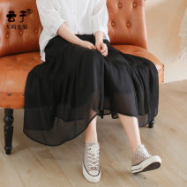 Women's large Summer 2020 Black Jasmine White XL (recommended 130-160 kg) 2XL (recommended 160-190 kg) 3XL (recommended 190-220 kg) skirt singleton  commute thin Solid color Retro polyester Three dimensional cutting YZ10074 Yunzi Medium length Other polyester 95% 5%
