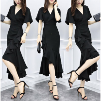 Dress Summer 2020 M suggests less than 100 kg, l suggests 100-110 kg, XL suggests 110-120 kg, XXL suggests 120-140 kg, 3XL suggests 140-155 kg Mid length dress singleton  Short sleeve commute Crew neck Solid color Socket routine Other / other Korean version 91% (inclusive) - 95% (inclusive)