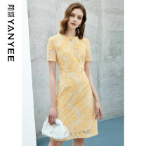 Dress Summer 2021 Huanghua [delivery within 30 days after pre-sale] S M L XL XXL Mid length dress singleton  Short sleeve commute Crew neck middle-waisted Decor Socket other routine Others 35-39 years old Type H Yan Yu Ol style 20S1I0089 51% (inclusive) - 70% (inclusive) cotton
