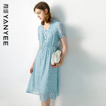 Dress Summer 2021 Blue flower [delivery within 30 days after pre-sale] S M L XL XXL Mid length dress singleton  Short sleeve commute V-neck Elastic waist Decor Socket other routine Others 35-39 years old Type X Yan Yu lady More than 95% polyester fiber Polyester 100%