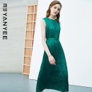 Dress Summer 2021 Green [delivery within 30 days after pre-sale] S M L XL XXL Mid length dress singleton  Sleeveless commute Crew neck middle-waisted Solid color Socket other routine Others 35-39 years old Type H Yan Yu Ol style 20S1I0141 More than 95% polyester fiber