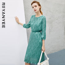 Dress Spring 2021 S M L XL XXL Mid length dress singleton  three quarter sleeve commute Crew neck middle-waisted Decor Socket Pleated skirt routine Others 35-39 years old Type H Yan Yu Ol style More than 95% polyester fiber Polyester 100%