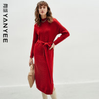 Dress Winter 2020 Coffee red S M L XL XXL Mid length dress singleton  Long sleeves commute stand collar Loose waist Solid color Socket other routine Others 35-39 years old Type H Yan Yu Ol style 20W0I0307 51% (inclusive) - 70% (inclusive) acrylic fibres