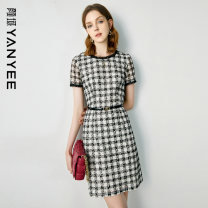 Dress Summer 2021 Black and white [delivery within 30 days of pre-sale] S M L XL XXL Middle-skirt singleton  Short sleeve commute Crew neck middle-waisted lattice Socket other routine Others 35-39 years old Type H Yan Yu Ol style 20S1I0176 More than 95% polyester fiber Polyester 100%