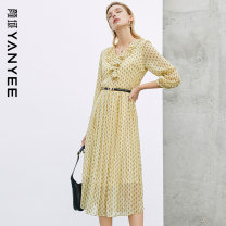 Dress Spring 2021 Huanghua [pre sale 04.26] S M L XL XXL Mid length dress singleton  three quarter sleeve commute V-neck middle-waisted Decor zipper A-line skirt routine Others 35-39 years old Type A Yan Yu Ol style zipper 20P1I0331 More than 95% polyester fiber Polyester 100%